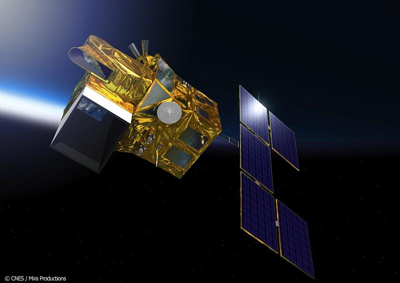 Representación artística del satélite espía francés Helios 1A en órbita terrestre. El Helios 1A fue lanzado en 1995 mediante un cohete Ariane. Su paso por los cielos de Bahía Blanca el lunes 4 de mayo de 2015 fue capturado en un video, que apareció en los medios locales presentado como un OVNI de origen desconocido. Créditos de la imagen: CNES/Mira Productions.